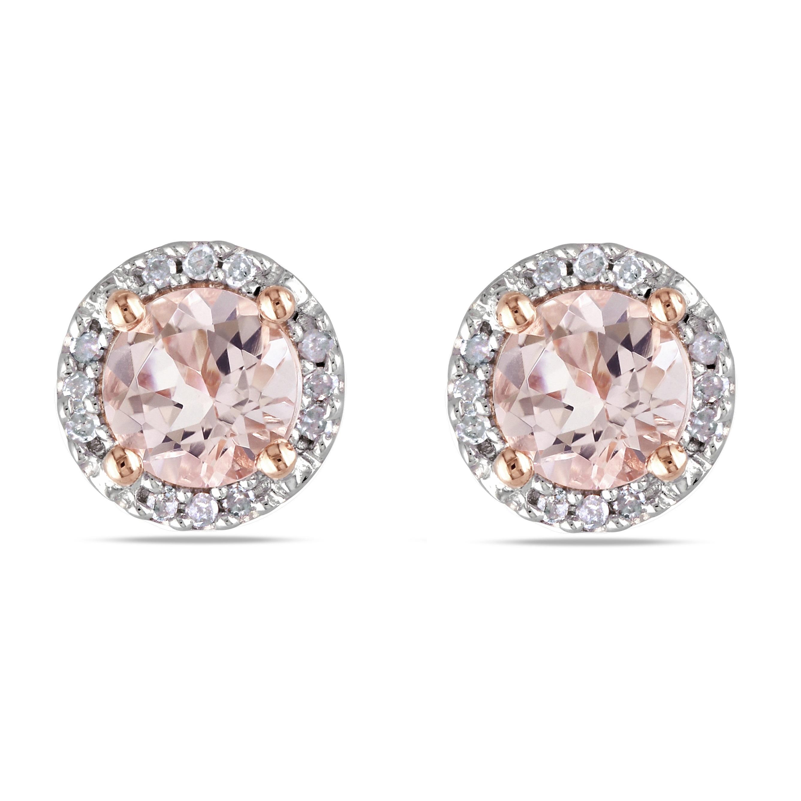 Diamond & Morganite Ear Pin Stud Earrings Rose Sterling Silver (1.07ct)