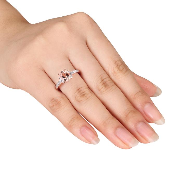 Diamond & Morganite Fashion Ring Rose Sterling Silver (1.21ct)