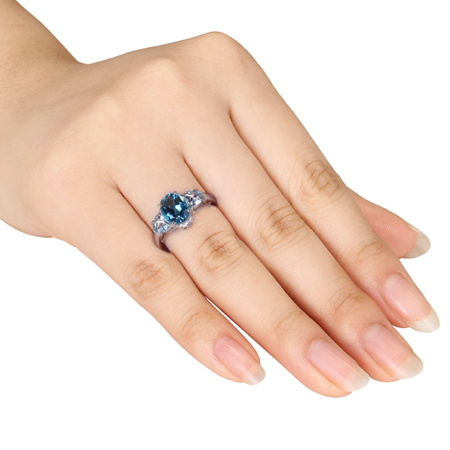 Diamond & Oval Blue Topaz Fashion Ring Sterling Silver (3.66ct)