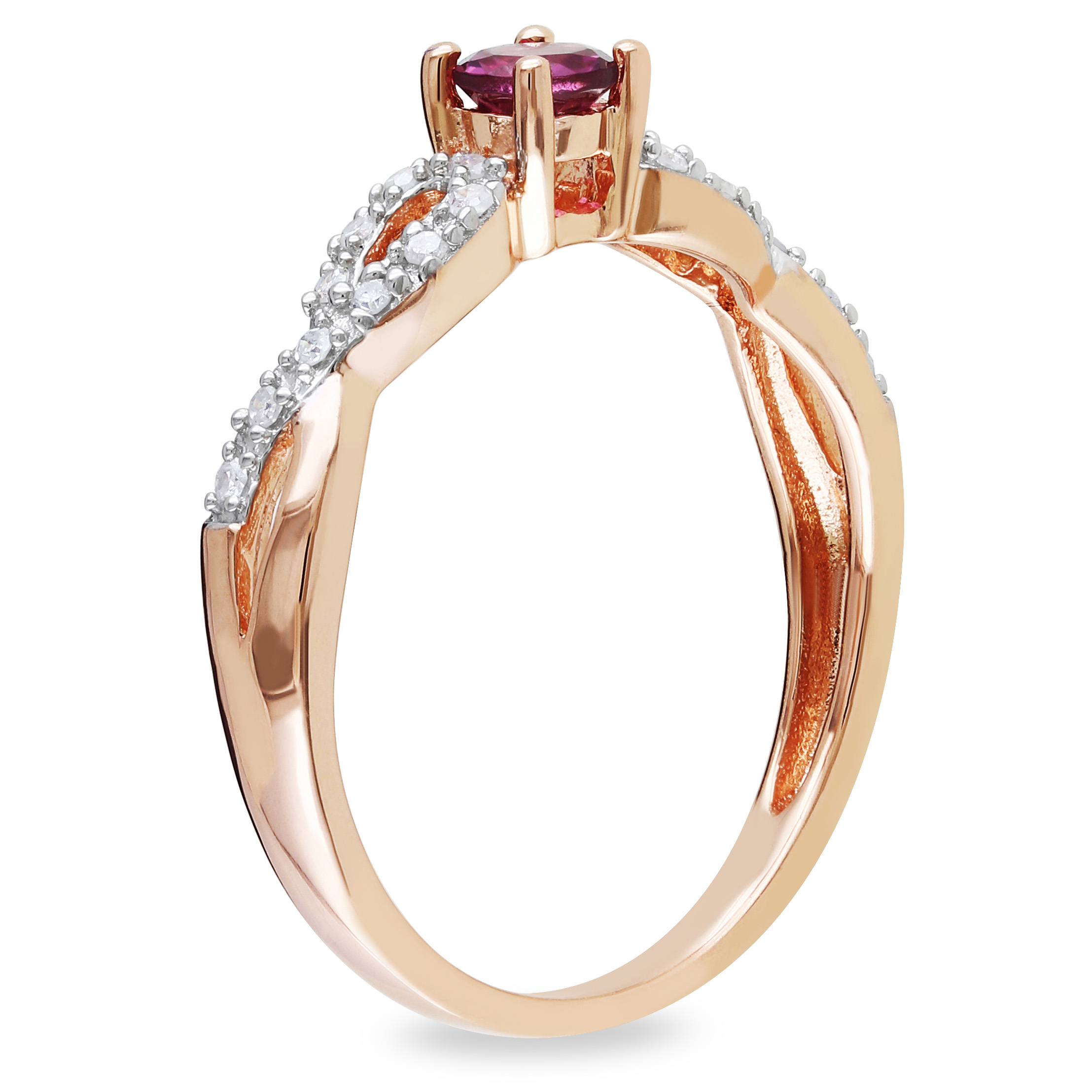 Diamond & Pink Tourmaline Fashion Ring Rose Sterling Silver (0.35ct)