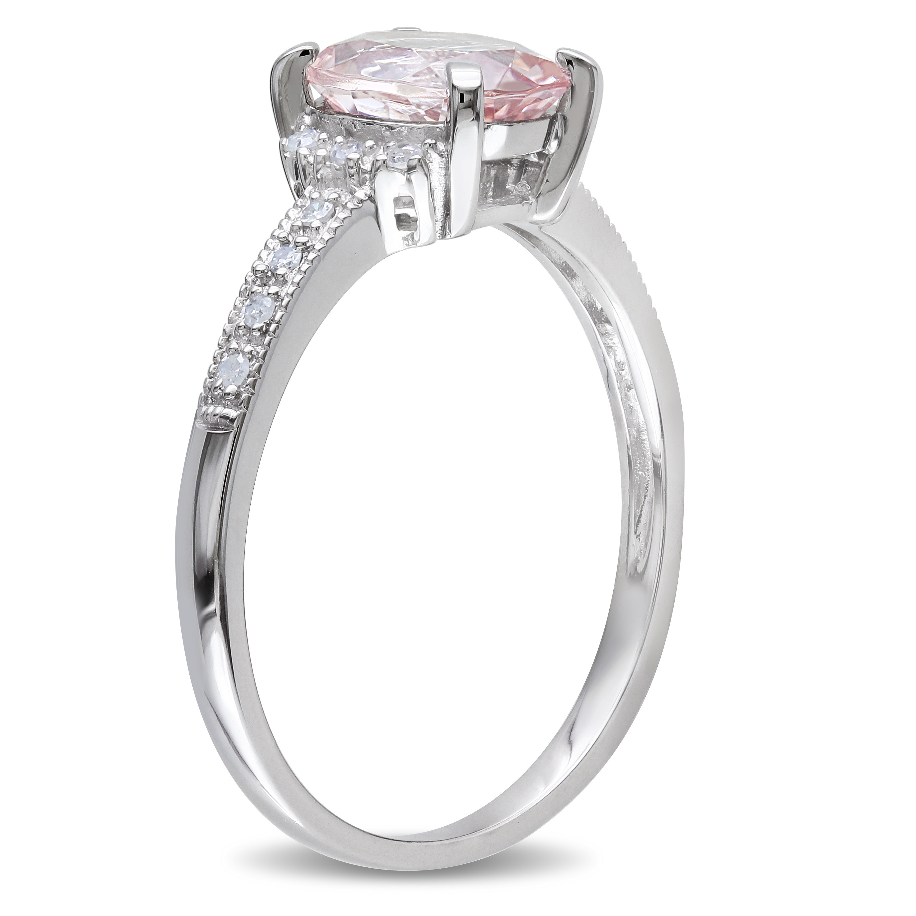 Diamond & Morganite Fashion Ring Sterling Silver (1.21ct)