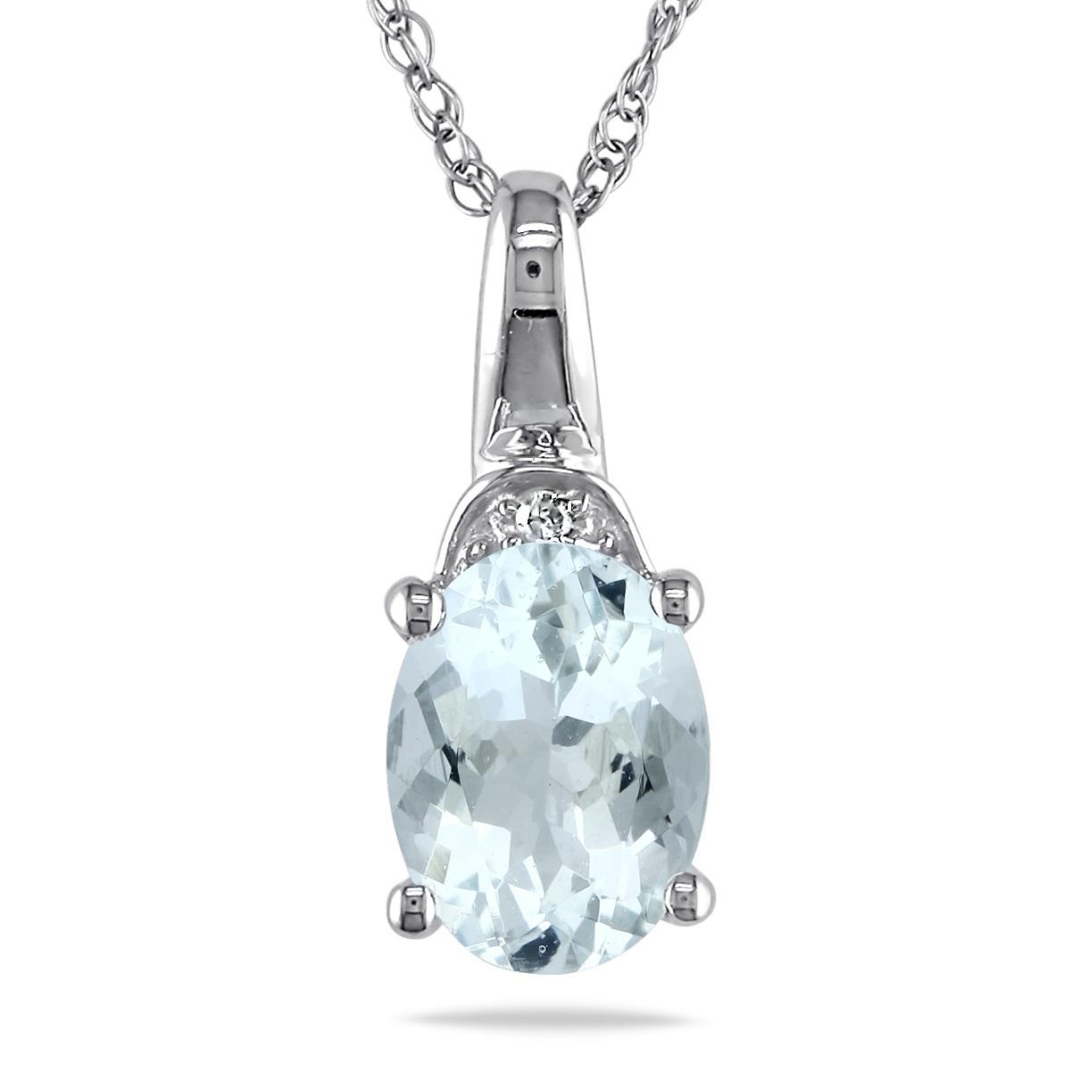 Diamond & Aquamarine Fashion Pendant Necklace 14k White Gold (1.00ct)