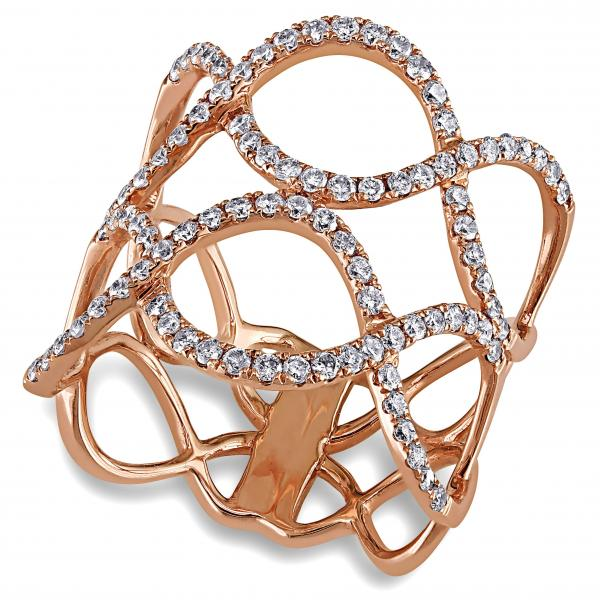 Diamond Accented Abstract Twisted Fashion Ring 14k Rose Gold (0.80ct)