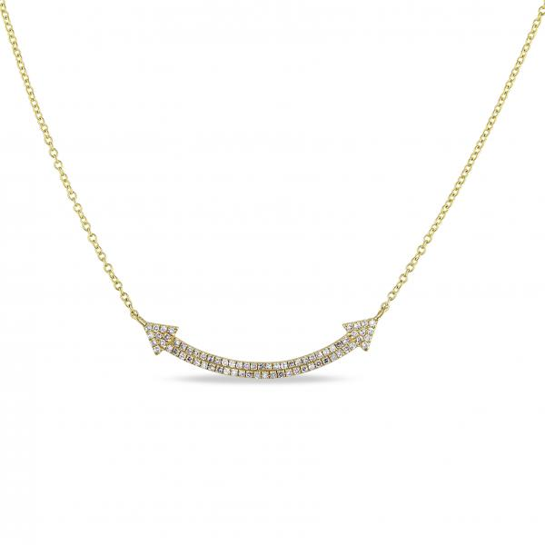 Diamond Accented Dual Arrow Pendant Necklace 14k Yellow Gold (0.20ct)