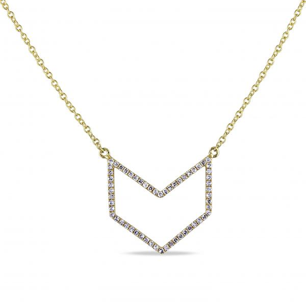 Diamond Accented Arrow Pendant Necklace 14k Yellow Gold (0.18ct)