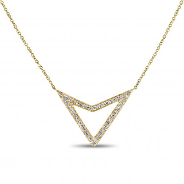 Diamond Accented Triangle Pendant Necklace 14k Yellow Gold (0.38ct)