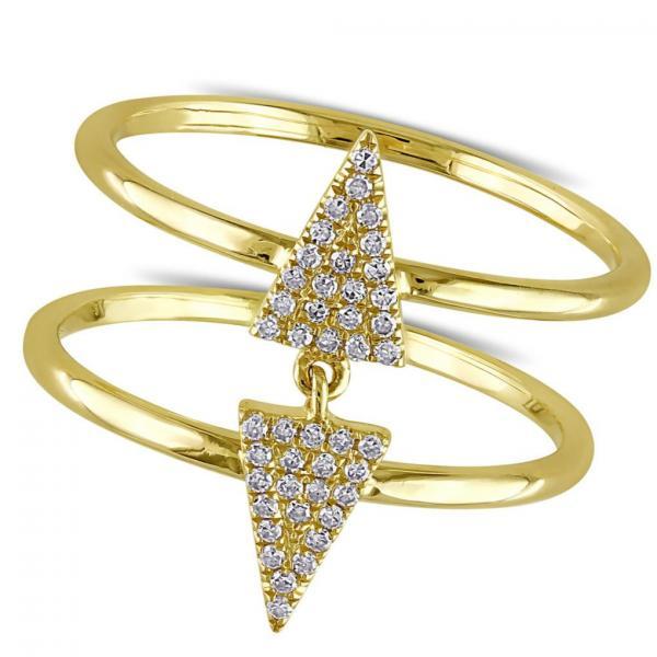 Diamond Double Triangle Fashion Ring 14k Yellow Gold (0.14ct)