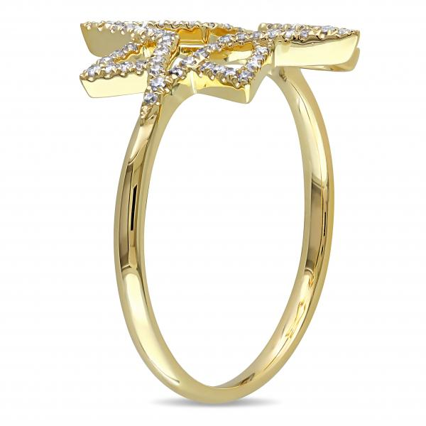 Diamond Accented Star Design Fashion Ring 14k Yellow Gold (0.21ct)