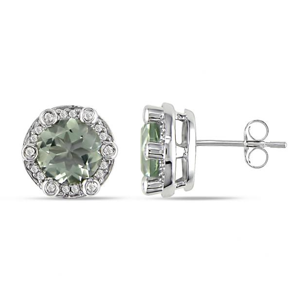 Diamond Accented Green Amethyst Stud Earrings in 14k White Gold 3.90ct