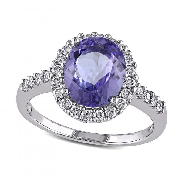 Diamond Halo Tanzanite: Diamond Halo Tanzanite Fashion Ring In 14k White Gold (2
