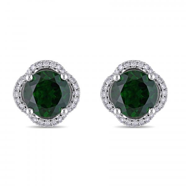 Diamond & Chrome Diopside Halo Stud Earrings 14k White Gold (4.30ct)