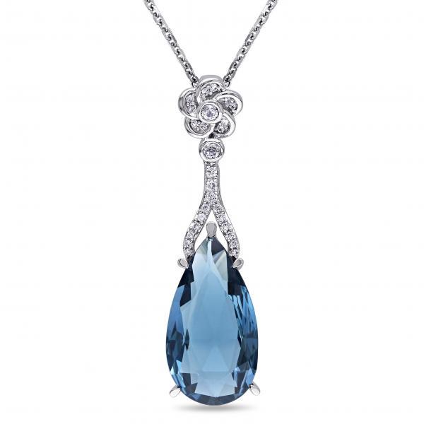 Diamond & Blue Topaz Flower Dangling Pendant 14k White Gold (7.56ct)