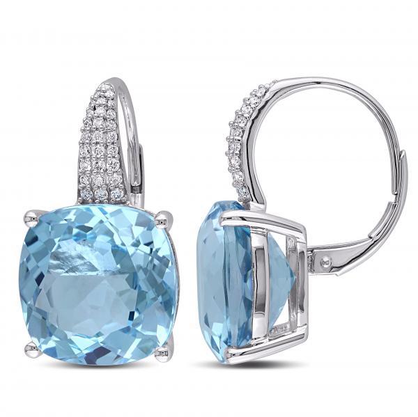 Diamond Sky Blue Topaz LeverBack Drop Earrings 14k White Gold 23.51ct