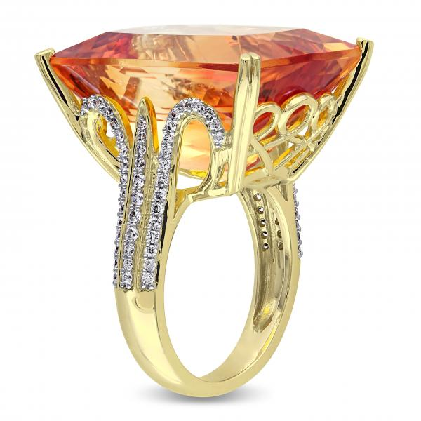 Diamond Accented Citrine Fashion Ring in 14k Yellow Gold (31.75ct)