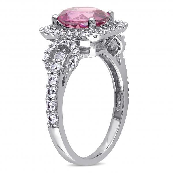 Diamond Accented Pink Tourmaline Fashion Ring 14k White Gold (2.26ct)