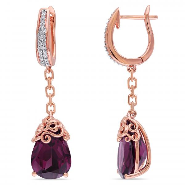 Diamond & Rhodolite Garnet Ear Pin Earrings in 14k Rose Gold (9.76ct)