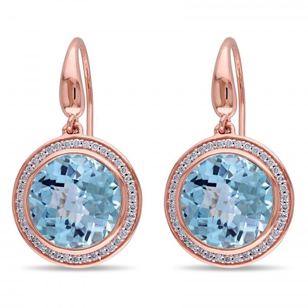 Diamond & Sky Blue Topaz Circle Earrings in 14k Rose Gold (14.78ct)