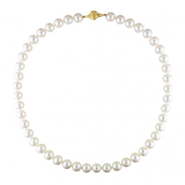 Cultured Akoya White Pearl Necklace 14k Yellow Gold (9-9.5mm)