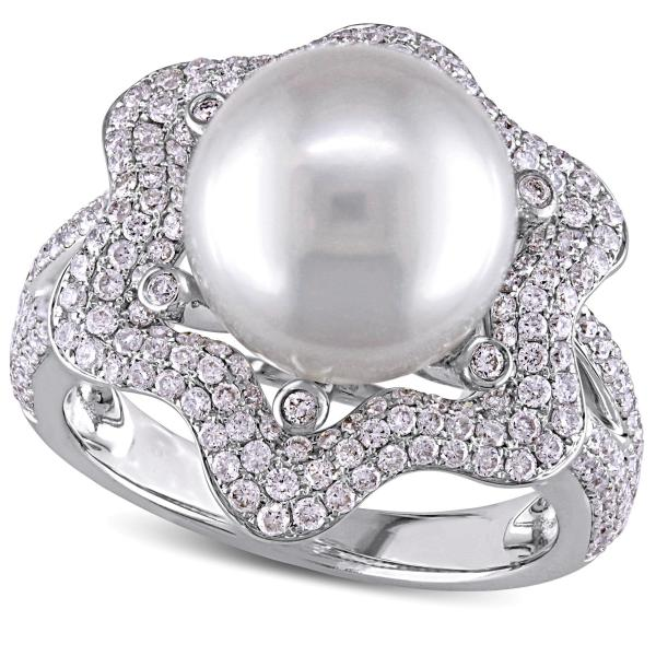 South Sea Pearl & Diamond Fashion Ring 14k White Gold 10-10.5mm 1.00ct