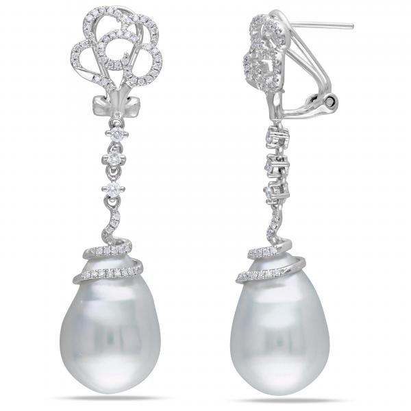 Freshwater Baroque Pearl Flower Earrings 14k W Gold (14.5-15mm 0.50ct)