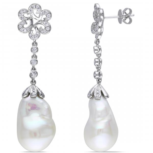 Freshwater White Pearl Flower Earrings 14k W Gold (13-13.5mm 0.50ct)
