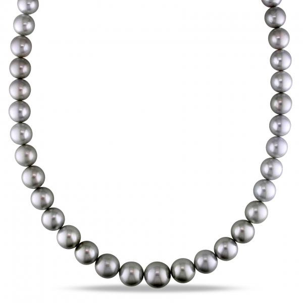 Graduating Tahitian Black Pearl Strand Necklace 14k White Gold 9-12.5mm