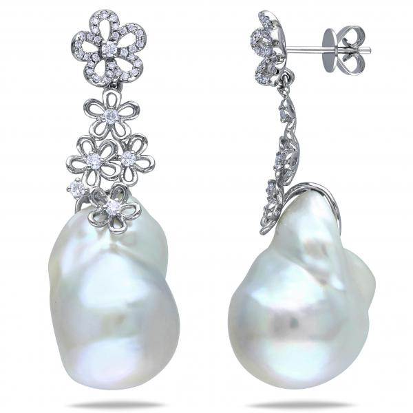 Freshwater Pearl and Flower Drop Earrings 14k W Gold 14.5-15mm 0.50ct