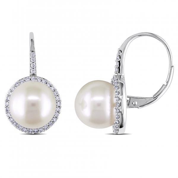 Freshwater Pearl Diamond Halo Leverback Earrings 14k W Gold 9.5-10mm