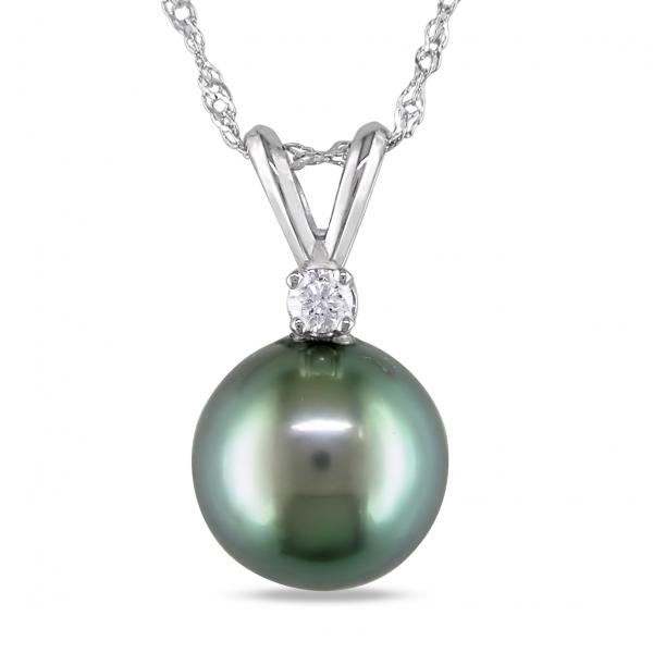 Solitaire Diamond & Tahitian Pearl Pendant Necklace 14k White Gold 8-9mm