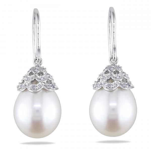 Freshwater Pearl Shepherd Earrings 14k White Gold 10.5-11mm (0.10ct)