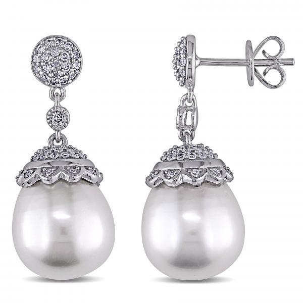 Diamond & South Sea Pearl Earrings 14k White Gold 12.5-13mm (0.50ct)