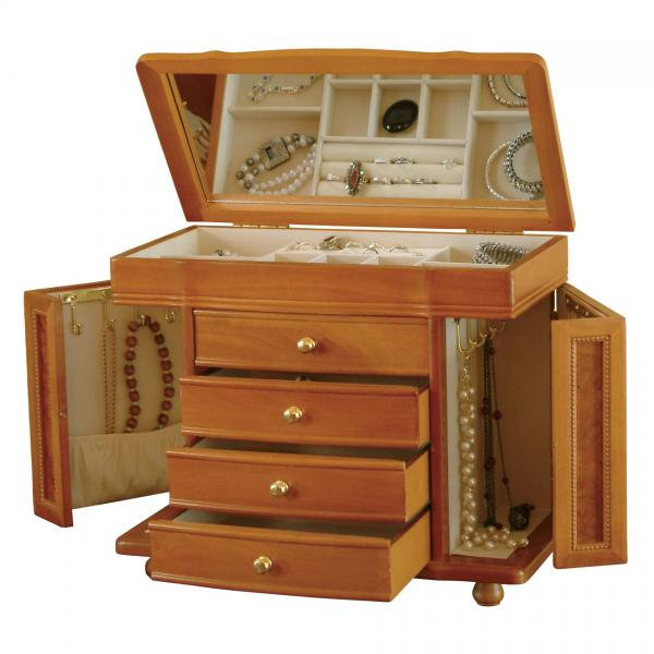 Wooden Jewelry Box in Oak Finish. Classic Styled Jewel Chest & Storage