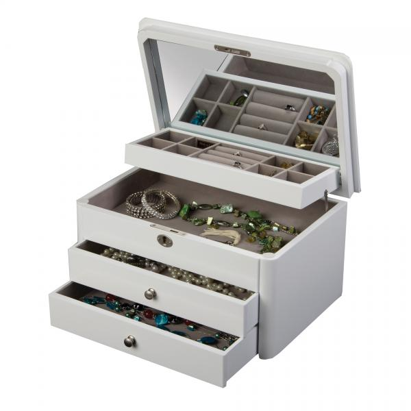 Locking Wooden Jewelry Box in White w/ Auto Tray, Ring Roll, Drawers