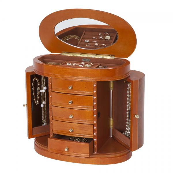 Best Wooden Jewelry Boxes: Wooden Jewelry Box, Burlwood Walnut Finish. Dresser Top