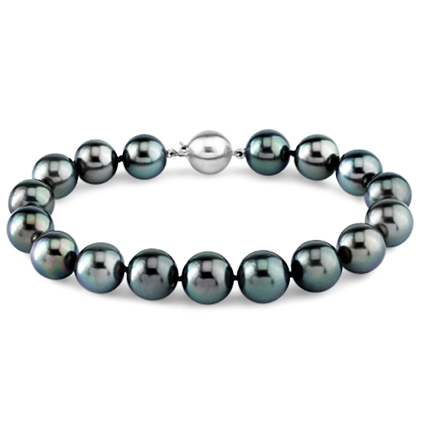 Ladies AAA Black Tahitian Pearl Bracelet 7.5 Inch 14k Gold Clasp 8-9mm