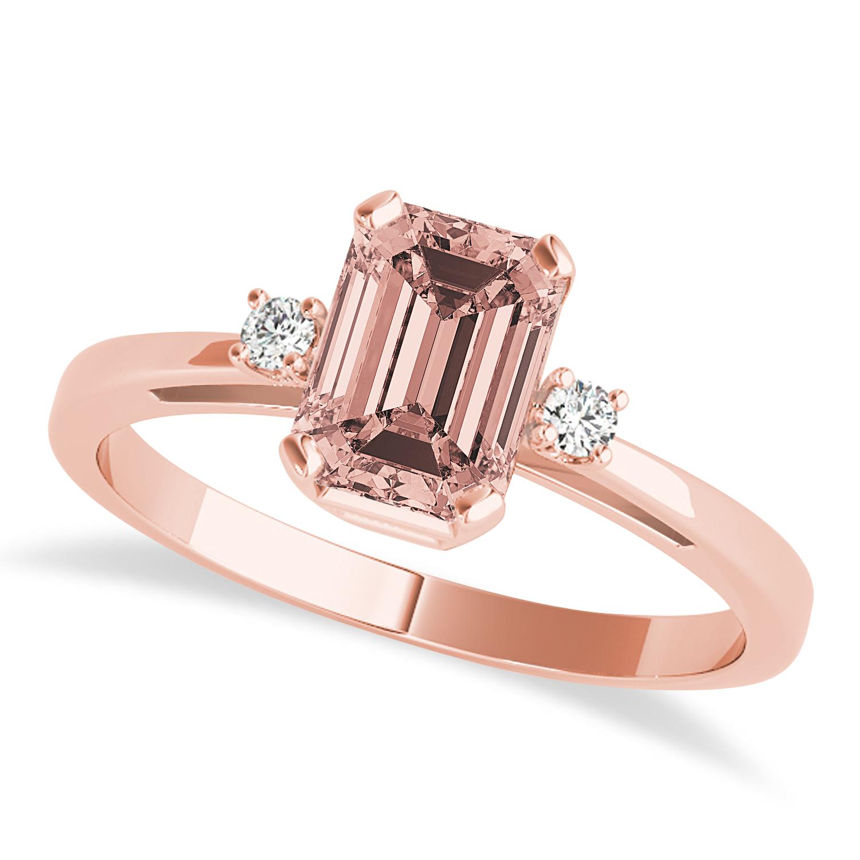 Morganite Emerald Cut Three-Stone Ring 14k Rose Gold (1.04ct)