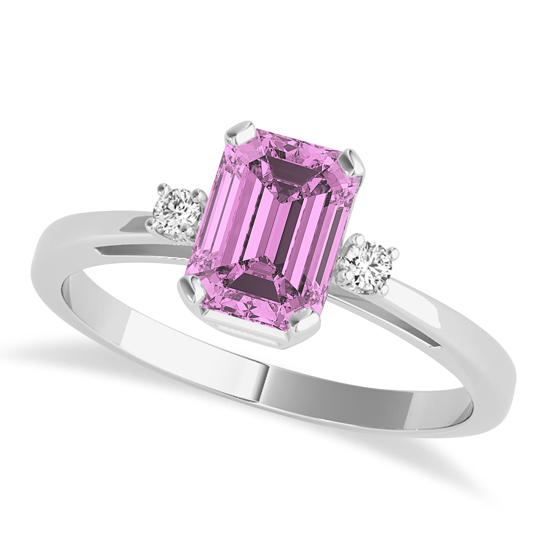 Pink Sapphire Emerald Cut Three-Stone Ring 14k White Gold (1.04ct)