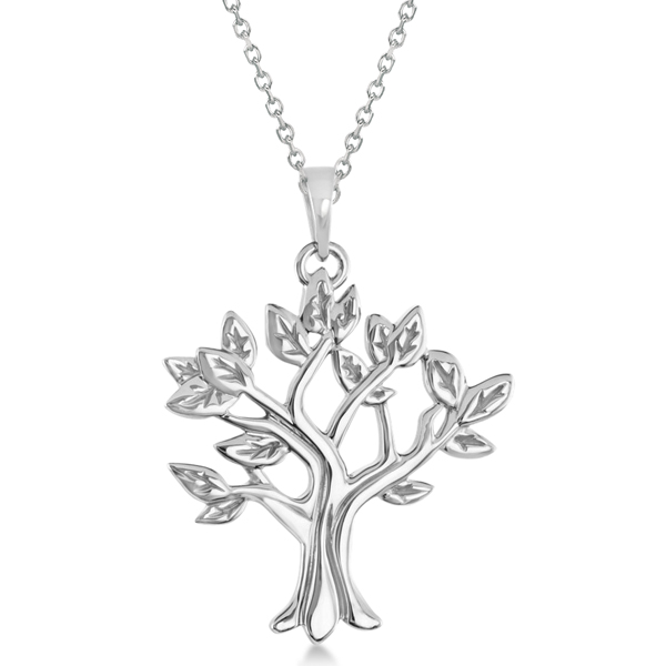My Tree of Life Pendant Necklace in Solid 14K White Gold
