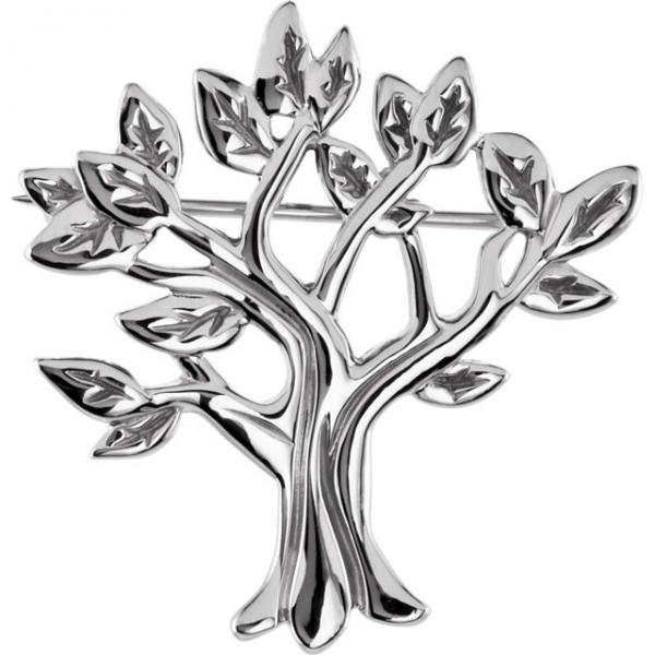 My Tree of Life Brooch Pin in Plain Metal 14k White Gold
