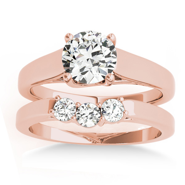 Lucida Solitaire Cathedral Bridal Set 14k Rose Gold (0.24ct)