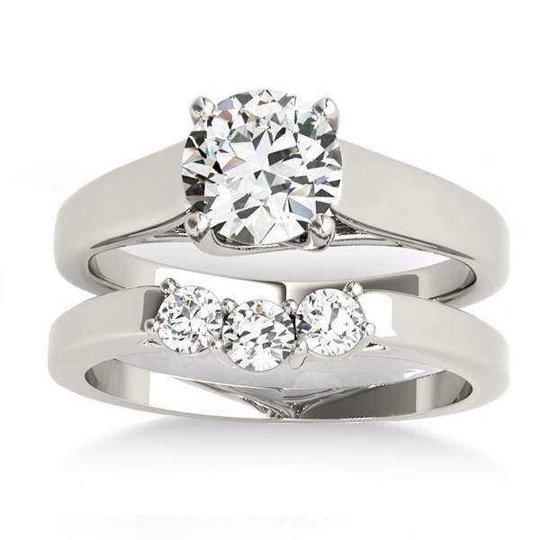 Lucida Solitaire Cathedral Bridal Set Palladium (0.24ct)