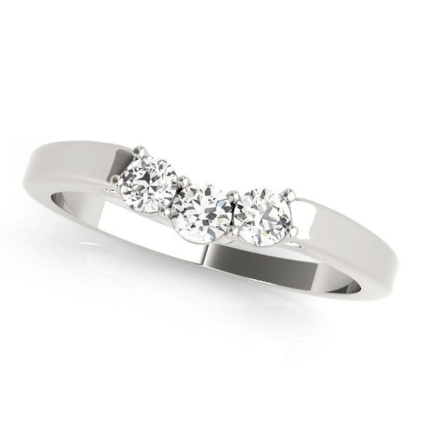 Diamond Curved Three Stone Wedding Band 14k White Gold (0.24ct)