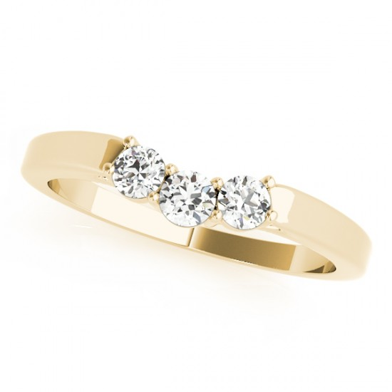 Diamond Curved Three Stone Wedding Band 14k Yellow Gold (0.24ct)