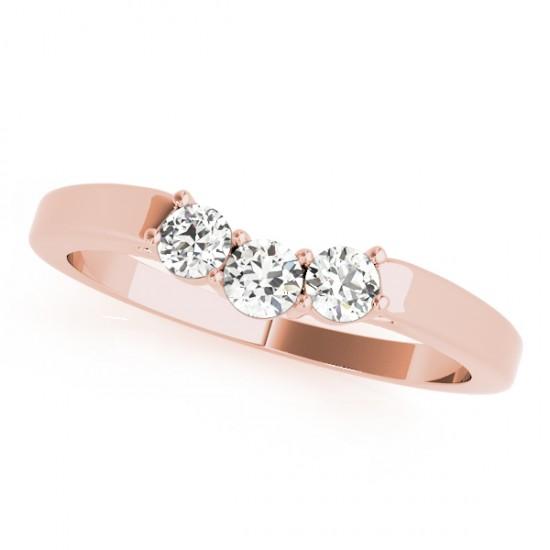 Diamond Curved Three Stone Wedding Band 18k Rose Gold (0.24ct)