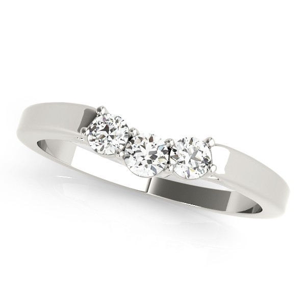 Diamond Curved Three Stone Wedding Band Platinum (0.24ct)