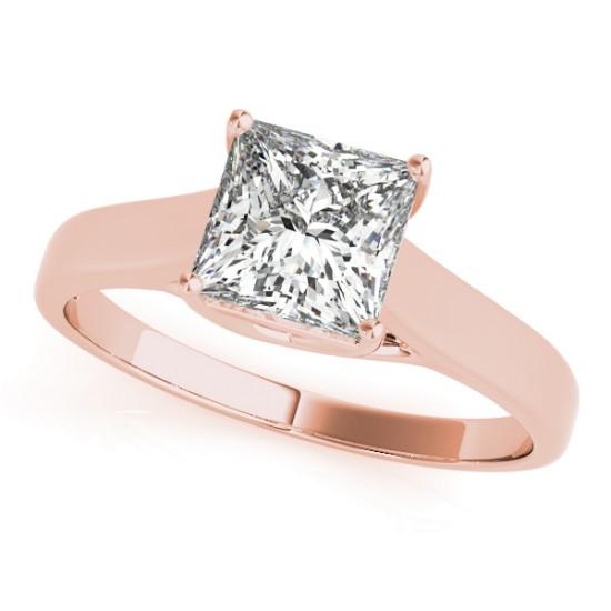 Diamond Princess Cut Solitaire Engagement Ring 14k Rose Gold (1.24ct)