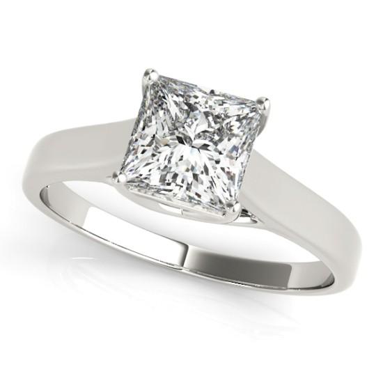 Diamond Princess Cut Solitaire Engagement Ring 14k White Gold (1.24ct)