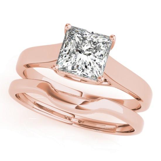 Diamond Princess Cut Solitaire Bridal Set 14k Rose Gold (1.24ct)
