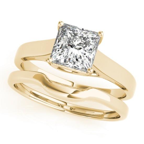 Diamond Princess Cut Solitaire Bridal Set 14k Yellow Gold (1.24ct)