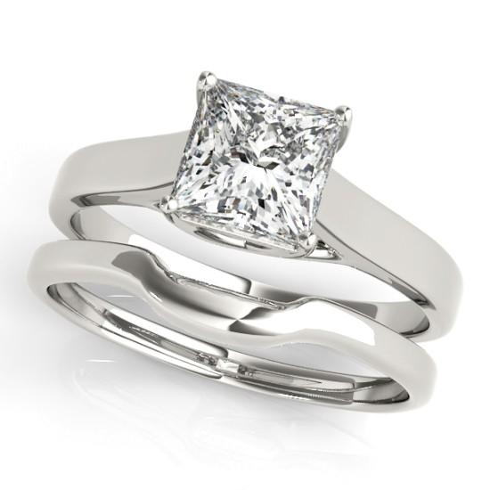 Diamond Princess Cut Solitaire Bridal Set 18k White Gold (1.24ct)